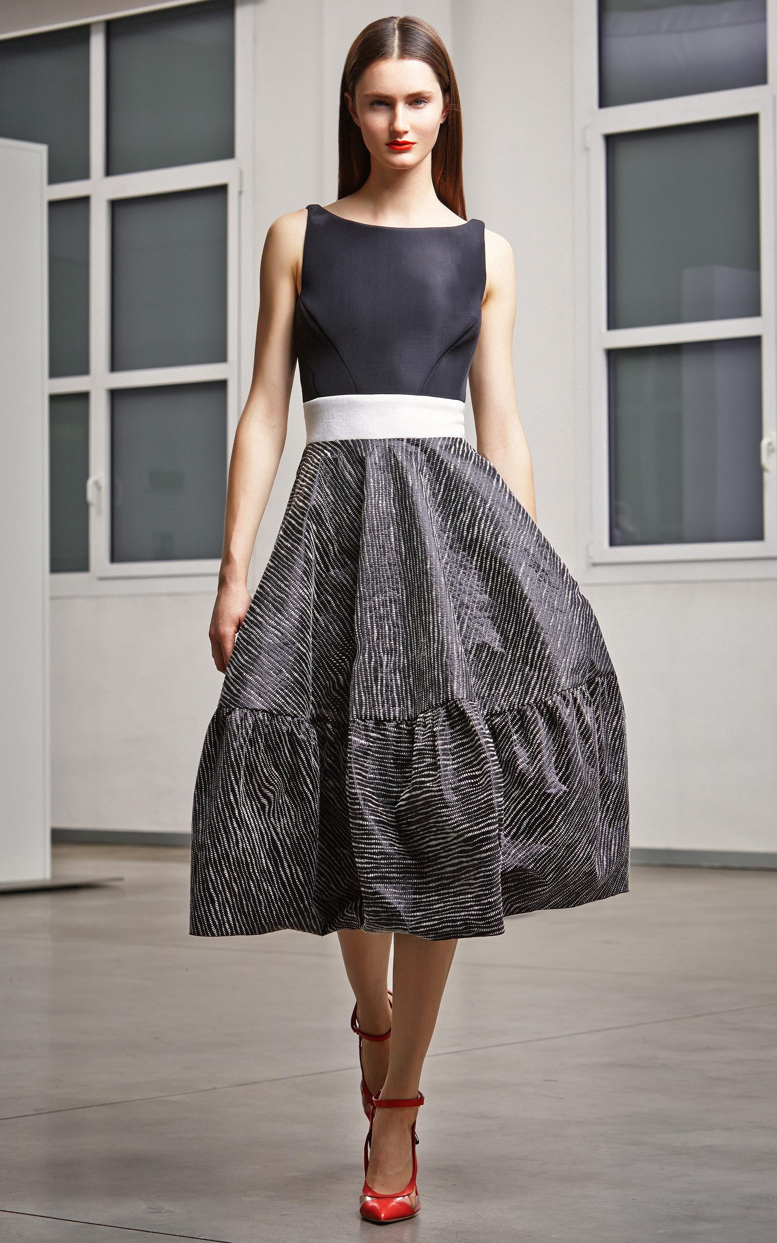 Color-Blocked Full Skirt Cocktail Dress by Antonio | Moda Operandi
