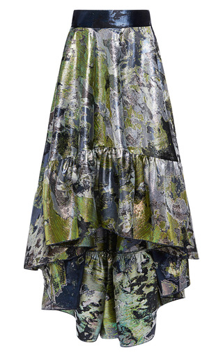 Petrol Green Iridescent Brocade Strapless Dress by ANTONIO BERARDI for Preorder on Moda Operandi