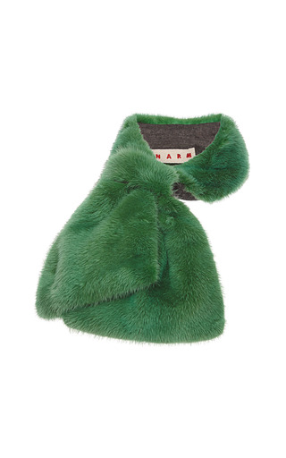 Medium marni green visone mink fur collar