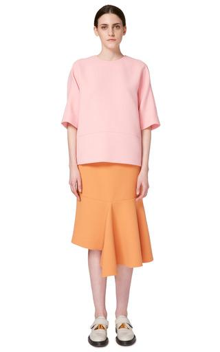 Double Face Crepe Cropped Sleeve Crew Neck Blouse by MARNI for Preorder on Moda Operandi