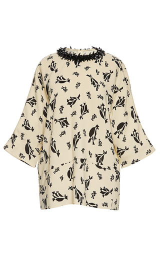 Medium marni print sable stamp shiver cropped sleeve crew neck blouse
