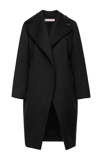 Medium marni dark grey double face yarn dyed coat
