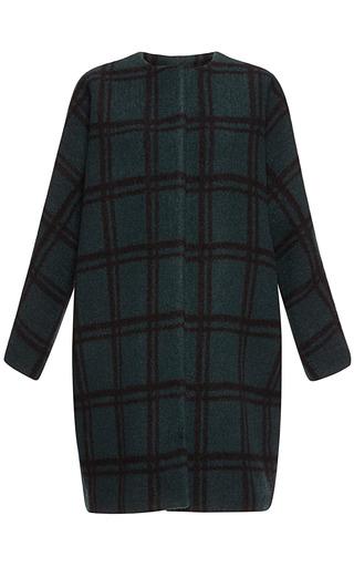 Medium marni green pressed wool check coat