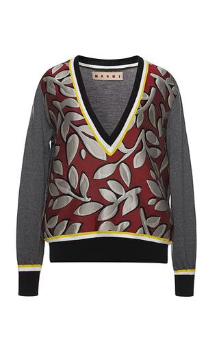 Medium marni brown rasato tex long sleeve v neck sweater