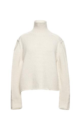 Medium marni white rasato aperto infeltrito long sleeve turtle neck sweater