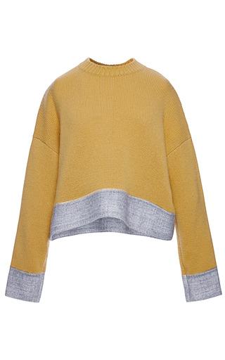 Medium marni brown rasato and tex agugliato long sleeve crew neck sweater