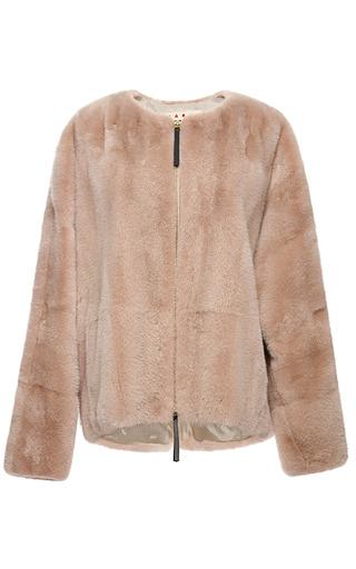 Medium marni pink visone mink fur jacket