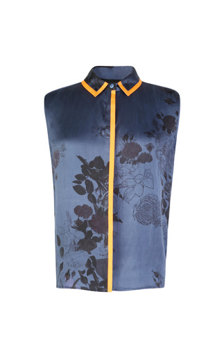 Medium preen blue printed silk satin wyman shirt