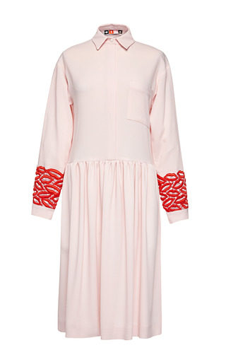 Medium msgm pink georgette shirt dress