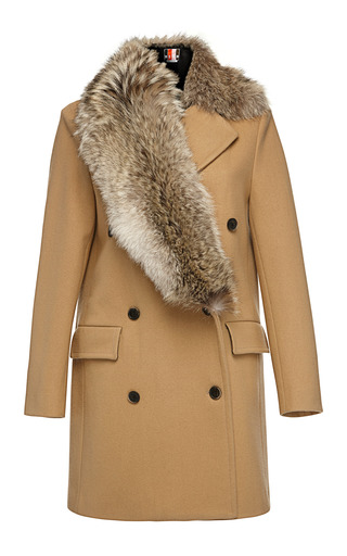 Medium msgm brown stole collar wool coat