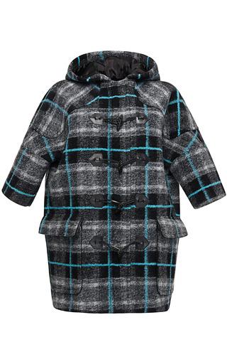Medium msgm multi plaid felted wool toggle coat
