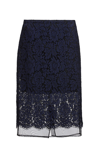 Medium msgm navy corded lace pencil skirt