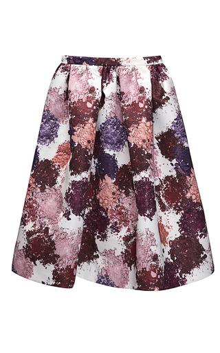 Medium msgm multi printed duchess satin skirt 5