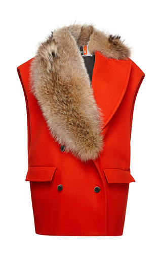 Medium msgm red sleeveless wool coat