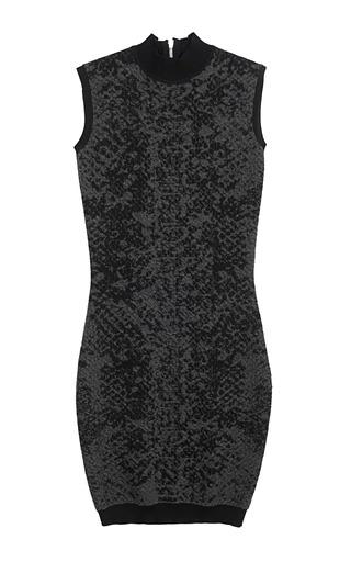 Medium christopher kane dark grey snake print knit polo neck dress