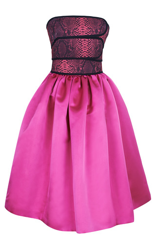 Medium christopher kane pink cinch bandeau full skirt dress