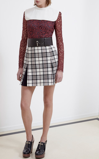 Tartan Wool Kick Pleat Mini Skirt by CARVEN for Preorder on Moda Operandi