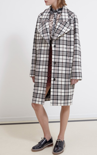 Medium carven multi tartan wool oversize coat