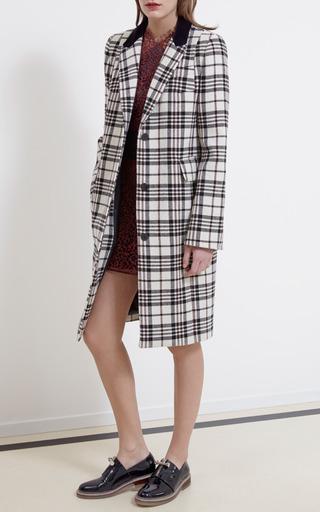 Medium carven multi tartan wool single breasted coat