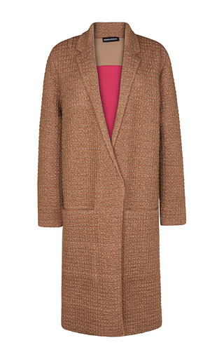 Medium sonia rykiel brown double face waffle knit coat