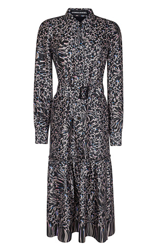 Medium sonia rykiel black bright back satin printed flowers shirt dress