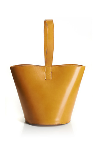 Medium j w anderson yellow mustard brushed leather bucket bag