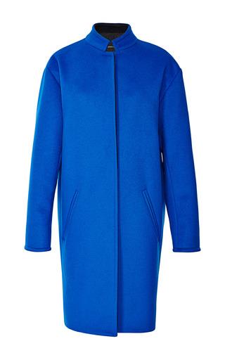 Medium cedric charlier blue laine et cachemire coat