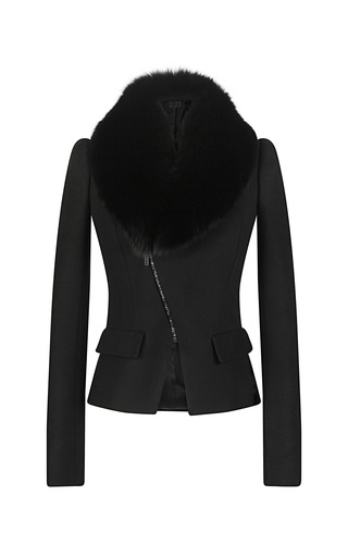 Medium maxime simoens black wool cashmere flannel and fox fur jacket