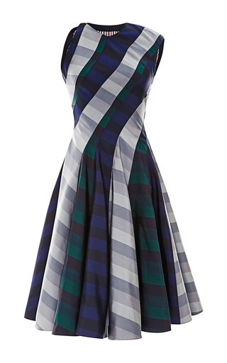 Medium thom browne multi seamed spiral cut dress in rugby stripe silk mogador 3