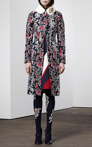Mink Collared Jacquard Coat by THOM BROWNE Now Available on Moda Operandi