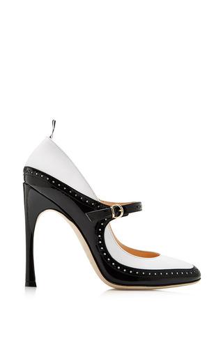 Medium thom browne multi classic mary jane brogue in black white patent leather