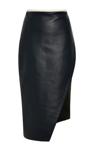 Medium jonathan simkhai navy asymmetrical leather pencil skirt