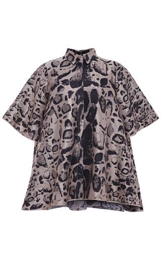 Medium giambattista valli dark grey leopard jacquard round top