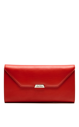 Medium mark cross red riviera clutch in rust