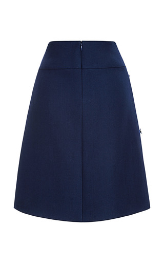Wool Twill Coating A Line Skirt With Embroidery by PETER SOM for Preorder on Moda Operandi