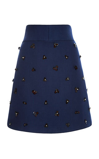 Medium peter som navy wool twill coating a line skirt with embroidery