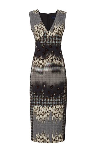 Medium peter som blue leopard jacquard sleeveless dress