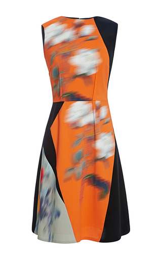 Medium peter som orange mega rose cady stretch sleeveless a line dress