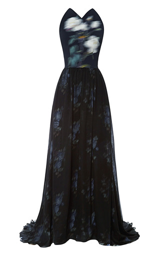 Medium peter som black mega rose cady stretch backless gown