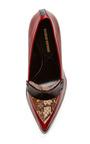 Burgundy Calf And Elaphe Apron Penny Pump by NICHOLAS KIRKWOOD for Preorder on Moda Operandi