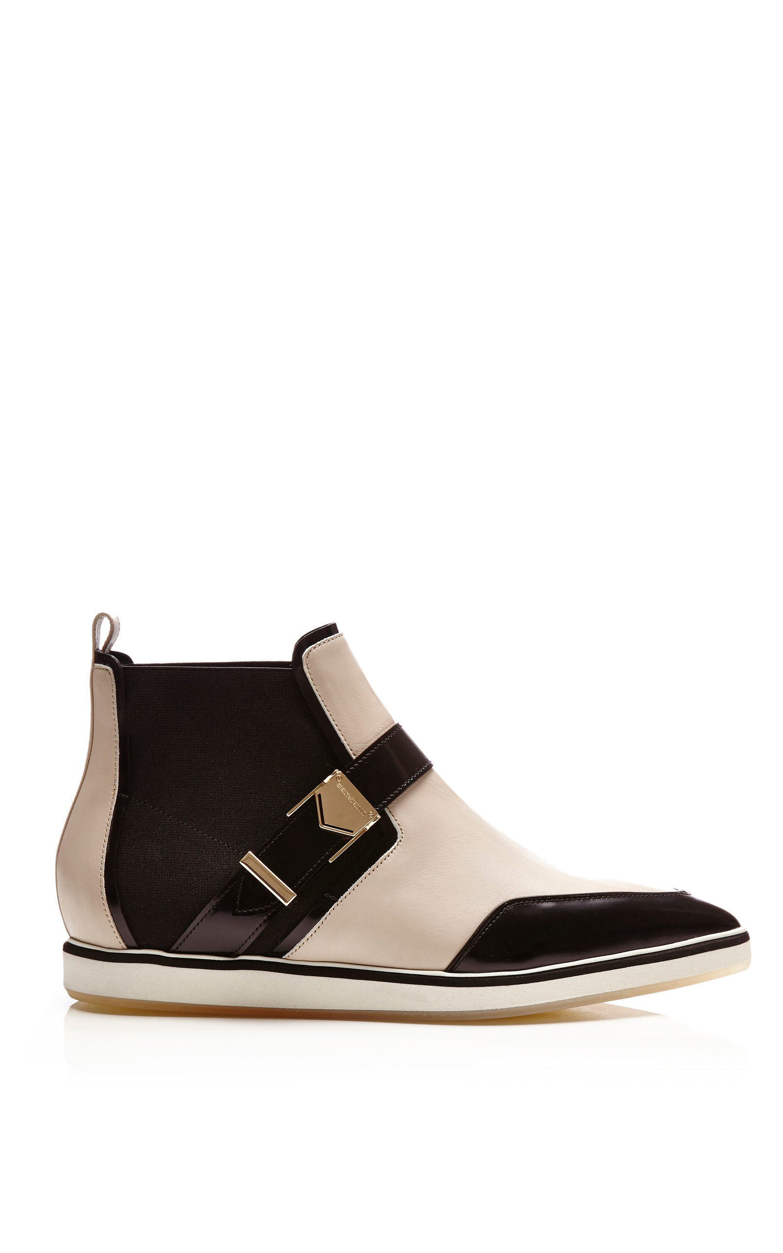white and black calf leather pointy flat boots by moda