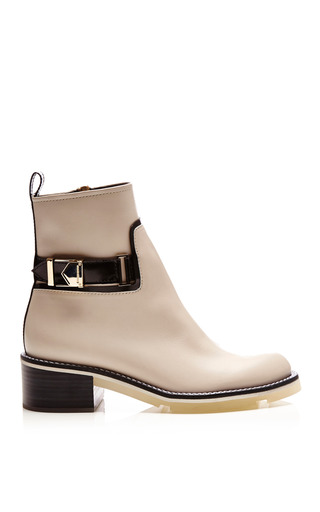 Medium nicholas kirkwood white white calf ankle boots with buckle