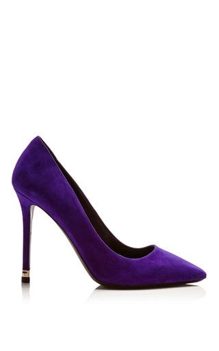 Medium nicholas kirkwood black purple suede pump with metal heel