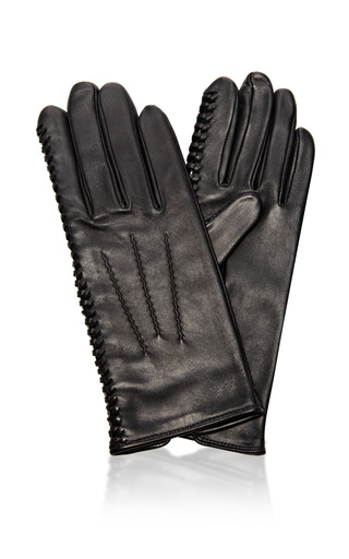Laced Detail Leather Gloves by NINA RICCI Now Available on Moda Operandi