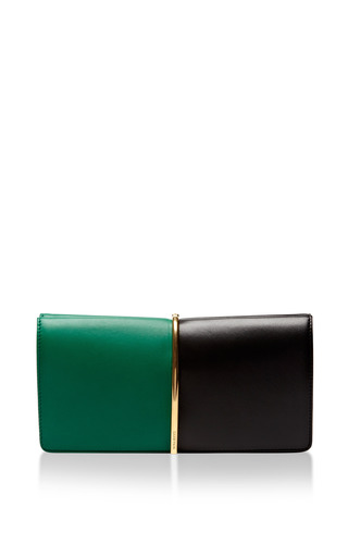 Medium nina ricci green bicolor large green black clutch