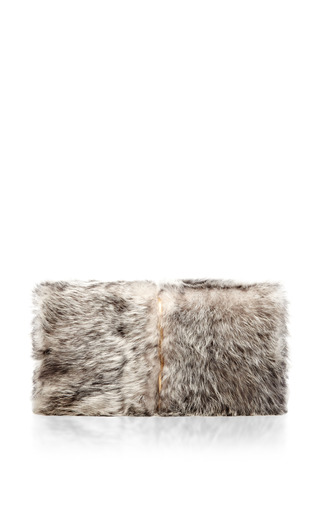 Medium nina ricci dark grey fur arc clutch