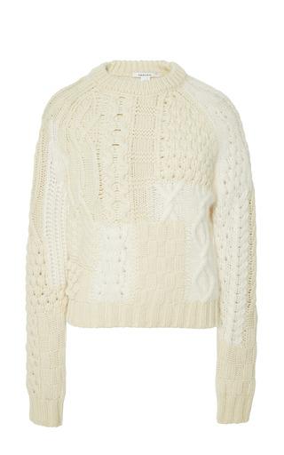 Medium carven white patchwork knit sweater