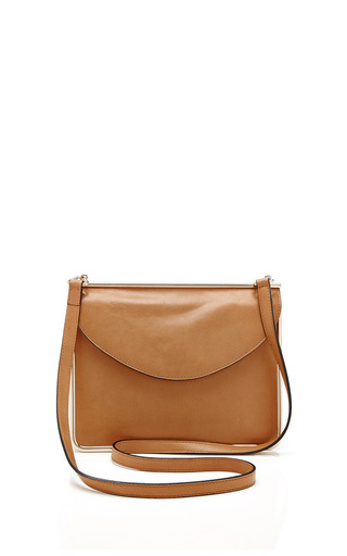 Medium carven brown smooth leather handbag