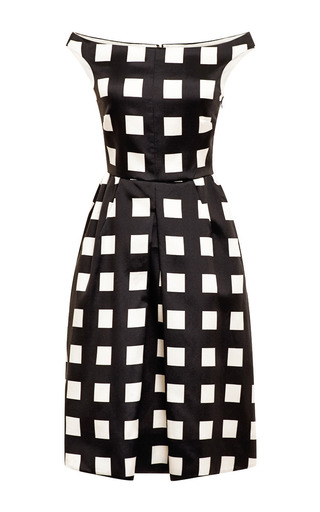 Medium rochas black check printed boat neck dress