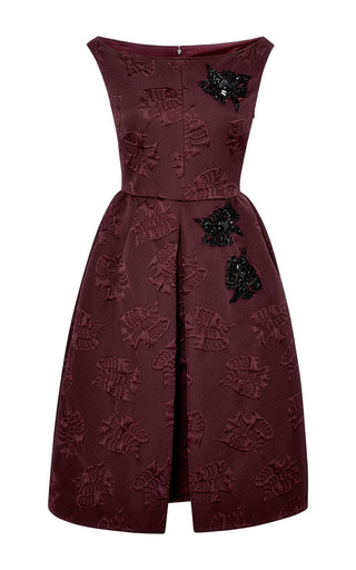 Medium rochas burgundy embroidered boat neck dress